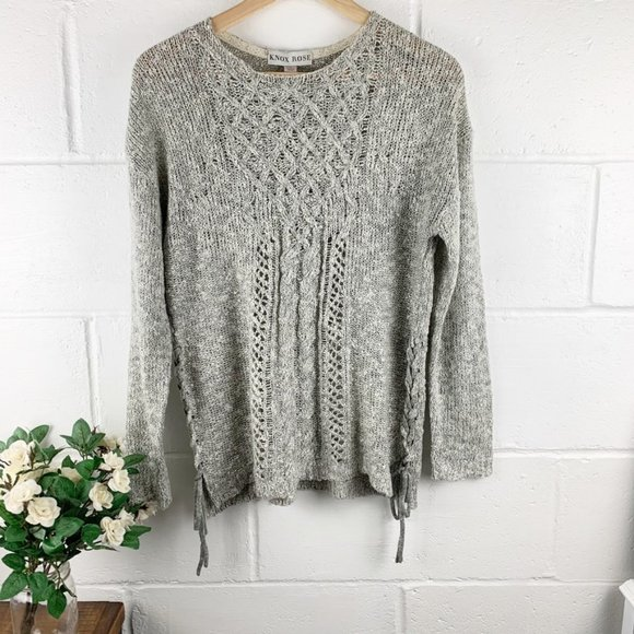 Knox Rose Sweaters - Knox Rose Gray Knit Crew Neck Sweater Size Small